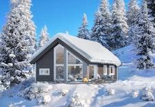 Kvarstad - dette er kun en illustrasjon av en tenkt hytte på tomten. Illustrasjonen vil vike fra virkeligheten og gjengir ikke korrekt tomt og beliggenhet.