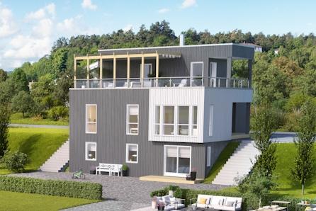 Funkishus med takterrasse på hele 45 kvadratmeter- Eikrem Panorama
