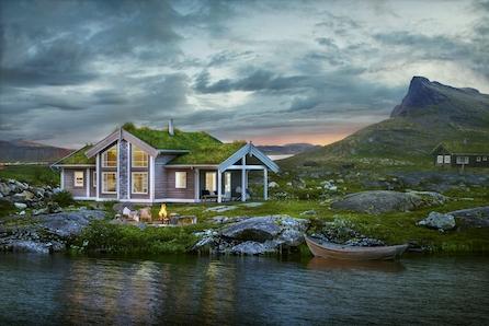 Praktisk, tradisjonell hytte av typen Midthø i Vik!