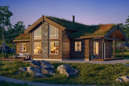 Praktfull hytte med utsikt over Røros i populære Stenbrottet Hyttefelt