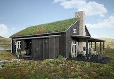Eksteriørillustrasjon av hytta Nue. Bildet vil avvike fra virkelig miljø og omgivelser.