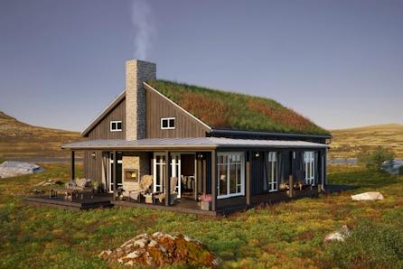 Veggli/Rustvegen Vest - Hytte designet av Halvor Bakke og Boligpartner. Solrikt med flott utsikt mot Hardangervidda.
