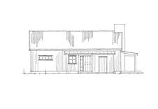 """Fasadetegning 3 av hytten """"Nue"""""""