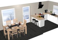 Illustrasjon: Aubo kjøken, inkl. alle kvitevarer og montering