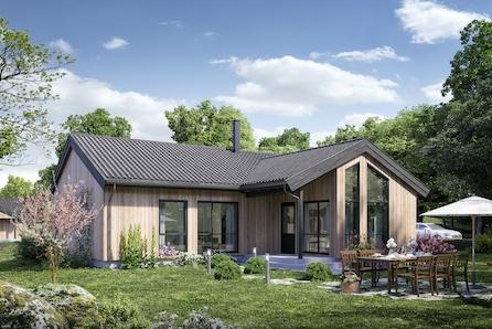 Moderne vinkelhus med 3 soverom på ett plan under prosjektering i Golbergsgutu.