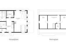Hytta kan også leveres med hems som tilvalg (øvrige tilpasninger også mulig)