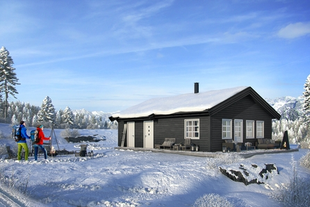 Hauststølhaugen på Aurdalsåsen.  Prisen inkluderer hytte, tomt og  grunnarbeidet.