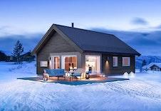 Raudfjellet (illustrasjon). Denne illustrasjonen viser 35 graders takvinkel. Prosjektert hytte har 22 graders takvinkel, se fasadetegninger.