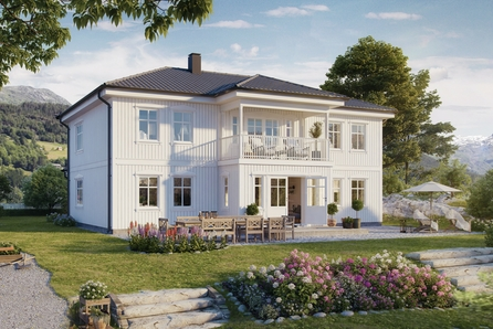 Ramstadåsen - Prosjektert Nostalgisk enebolig med 5 sov og 2 bad. Høyt beliggende stor tomt med flott utsikt. 214 BRA.