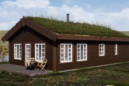 Prosjektert hytte - Skogblikk på Felt P Budor
