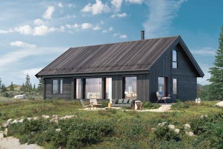 Liset hytteområde - STORÅSEN, svært arealeffektiv familiehytte med store vinduer i Skirvedalen