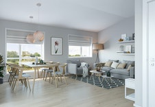 Illustrasjon av stue, iht. tegning. Kan avvike fra virkelig leveranse, miljø og omgivelser.