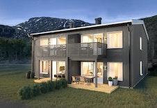 Bildet er en illustrasjon av Hus 2 og kan fravike fra faktisk miljø og leveranse.