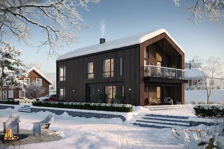 Moderne hus med 4 soverom og garasje/hybel prosjektert på Geilo. Gode solforhold og gangavstand til skole og sentrum