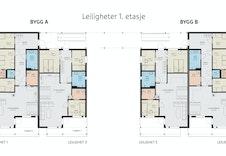 Planløsning 1. etasje. Det er er valgfritt om du ønsker å gjøre om soverom nr. 3 til en del av stuen.