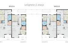 Planløsning 2. etasje. Det er er valgfritt om du ønsker å gjøre om soverom nr. 3 til en del av stuen.