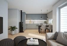 Interiørbilde av stue og kjøkken i leilighet med 3 soverom. (illustrasjon)