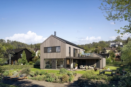 Geilo - Sentrumsnært hus i moderne stil med 4 soverom.  Stor overbygd uteplass og integrert garasje med sportsbod.