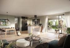 Stor og luftig stue, med åpen kjøkkenløsning.  Store vinduer med direkte tilgang til overbygd uteplass. (Illustrasjon - Faktisk miljø, farger og leveranse kan fravike illustrasjonen.)