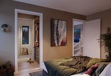 Boligen har egen voksen-sone med romslig master bedroom med walk in closet og direkte tilgang til bad. (Illustrasjon - Faktisk miljø, farger og leveranse kan fravike illustrasjonen.)