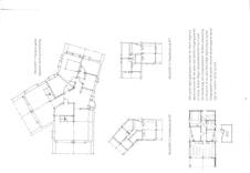 Arkitektenes spennende ideskisser; hytten i vinkler og Y-løsning, samt bod i samme stil.