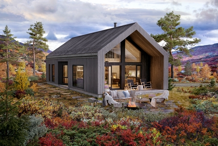 NY konsepthytte V2 m/stor hems sentralt på Turufjell ved kommende alpinanlegg, Pris inkl tomt og grunnarbeider.