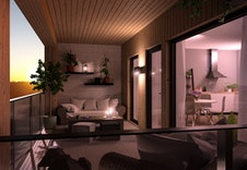 Fantastisk kveldsstemning på overbygget veranda