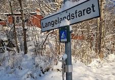 Skilt inn til veien Langelandsfaret