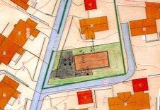 Skissert situasjonskart med inntegnet Arezzo.