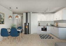 Lyst og trivelig kjøkken.  Bildene er illustrasjoner som vil avvike fra virkelig miljø og omgivelser.
