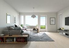 Åpen stue- og kjøkkenløsning med fin utsikt.  Bildene er illustrasjoner som vil avvike fra virkelig miljø og omgivelser.