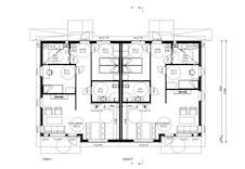 Planløsning på leilighetene. Leilighet nr 1 er solgt.