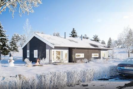 Praktisk leilighet på 78 m2 i tomannsbolig - åpen kjøkken/stueløsning og carport.  God uteplass med fin utsikt og sol.