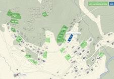 Oversiktskart Hodlekve. Tomt 19/200 og 19/201 er markert i blått.